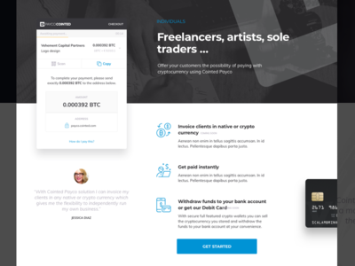 Crypto Freelancers Artists Sole Traders banking blockchain cryptocurrency design landing page website