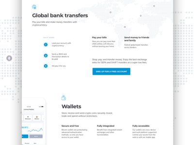 Global Bank Transfers wallets blockchain banking cryptocurrency design website landing page
