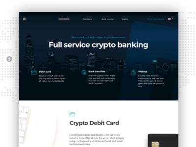 Full Service Crypto Banking blockchain banking cryptocurrency design landing page website