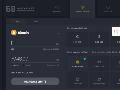 Increase Limits blockchain exchange cryptocurrency dashboard app website