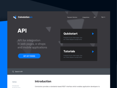 API software business design blue blockchain cryptocurrency landing page website