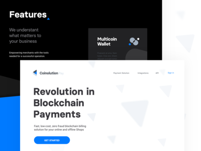 Features software business blue blockchain design cryptocurrency landing page website