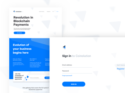 Landing Page & Sign In typography blue business software blockchain design cryptocurrency landing page website