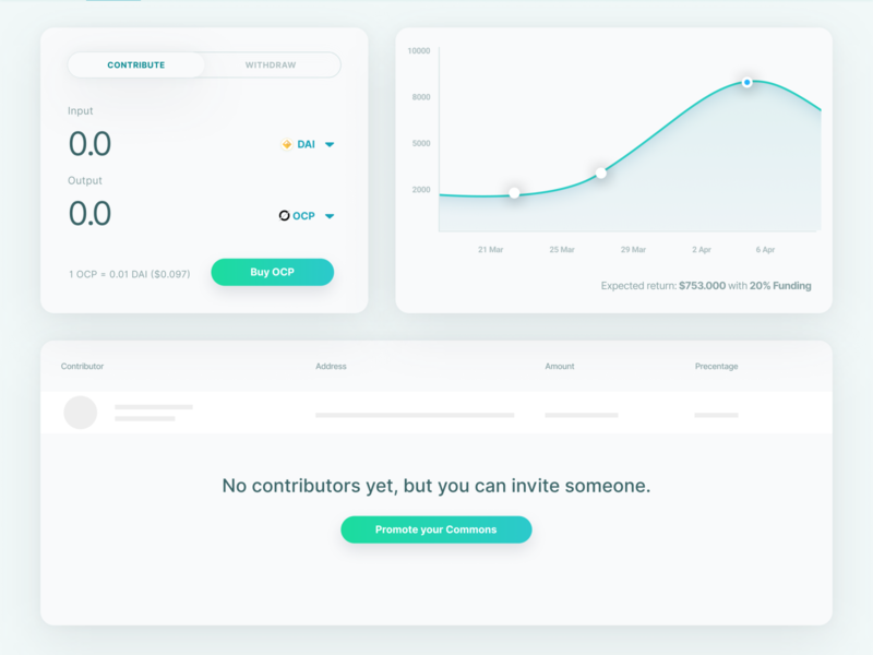 Commons Dashboard commons contribution dashboard ui ux blockchain crypto bondingcurve token