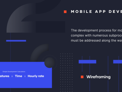 Process cost development mobile app design infographic