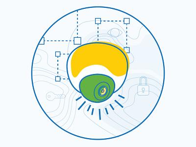 Abstract Meraki MV cloud-managed cloud security camera vector illustration