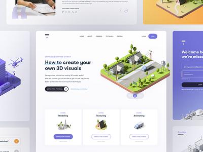 Knowledge is power #2 web design web landing page 3d model c4d 3d design illustration product design user interface ui