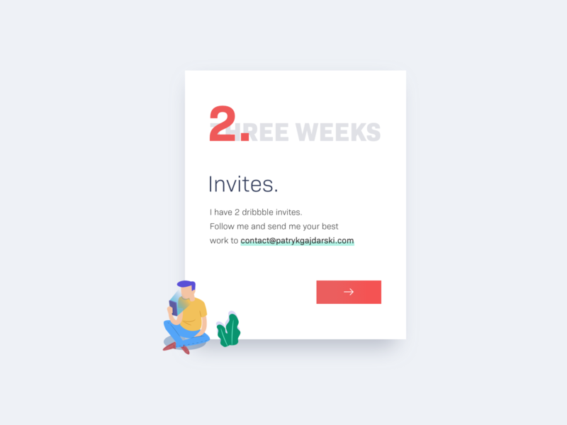 2x Dribbble Invites ui email follow two invite dribbbleinvites invites dribbble