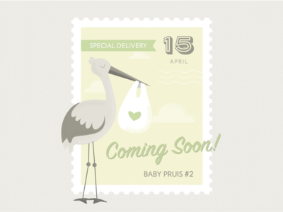 Baby Announcement stamp stork special delivery green yellow gender neutral baby announcement new baby