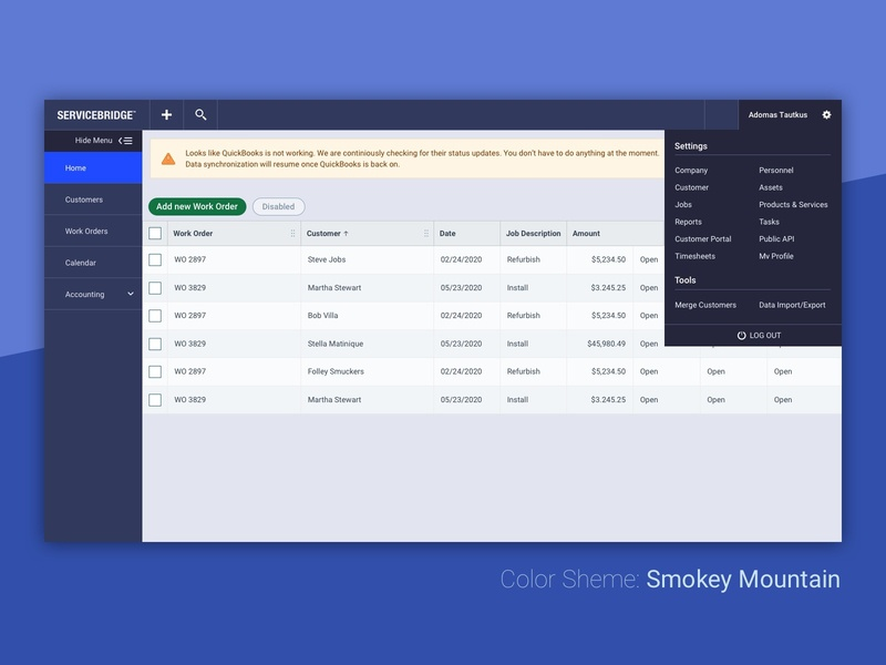 Color Scheme: Smokey Mountain user interface servicebridge explore color scheme