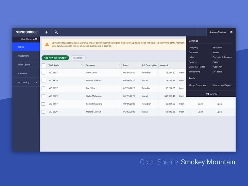 Color Scheme: Smokey Mountain user interface servicebridge explore color scheme
