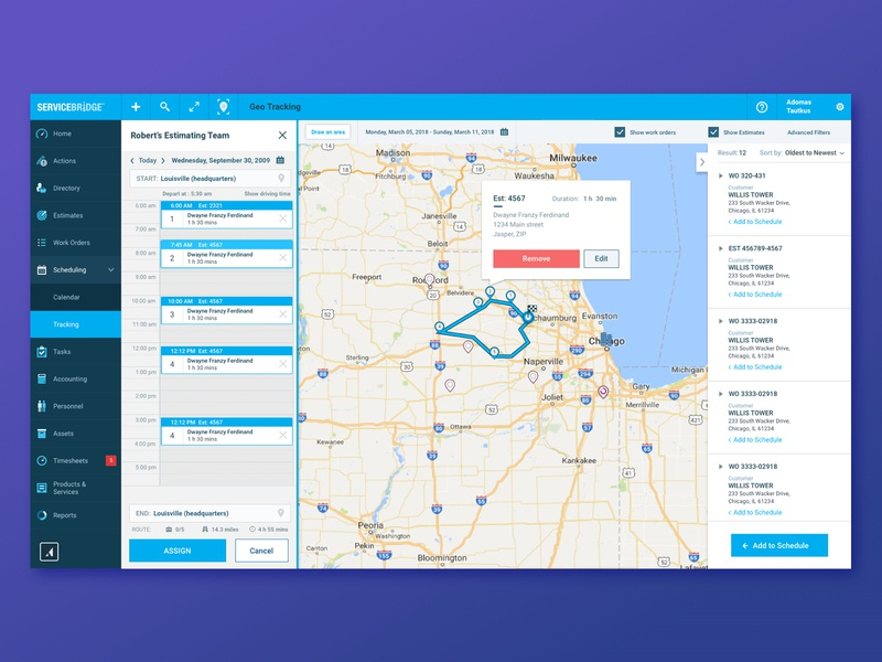 Routing service bridge servicebridge map traveling salesman user experience design scheduling mapping routing