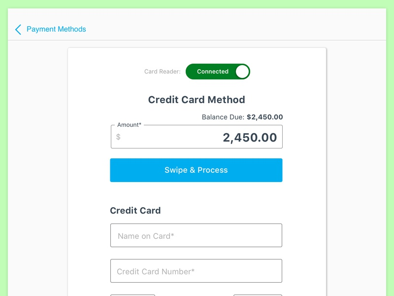 Sacrificing UX - Card Reader cardconnect stripe authorize.net servicebridge creditcard mobile payments ux card reader