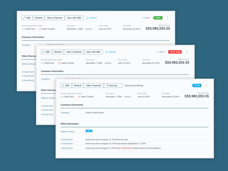 Invoices - ServiceBridge ux user experience servicebridge status dashboard accounting invoice
