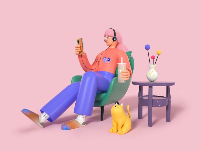 Playing is tired sofa table character milk tea flip flop phone vase cat headset chair glasses cinema 4d design illustration octane c4d