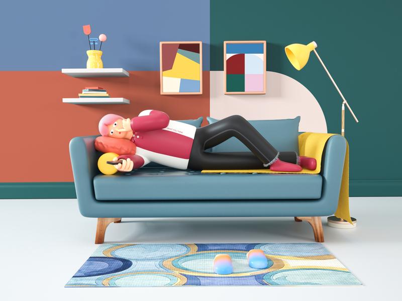Just watch desk lamp spring festival vacation book sofa vector carpet floor plan jeans shirt character cinema 4d illustration design octane c4d