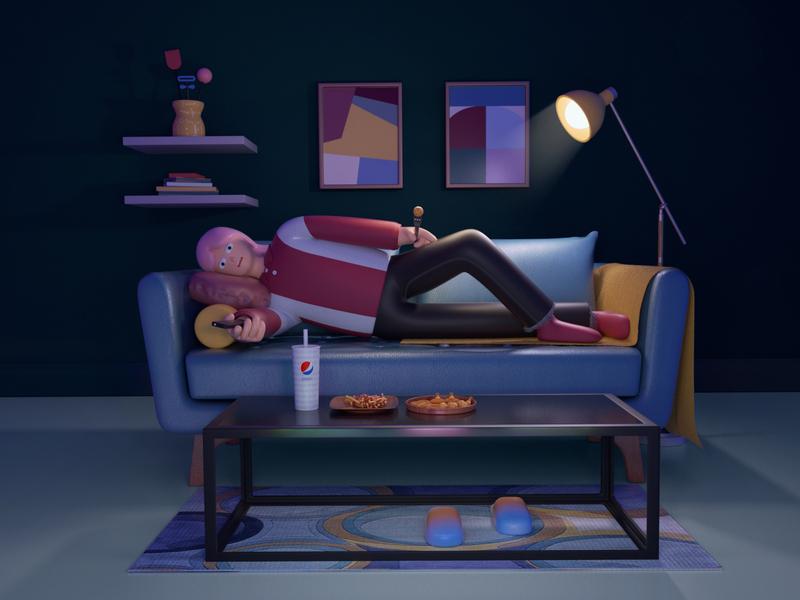 Happy night chicken night floorplan eating lying watch tv girl character chair cinema 4d illustration design octane c4d
