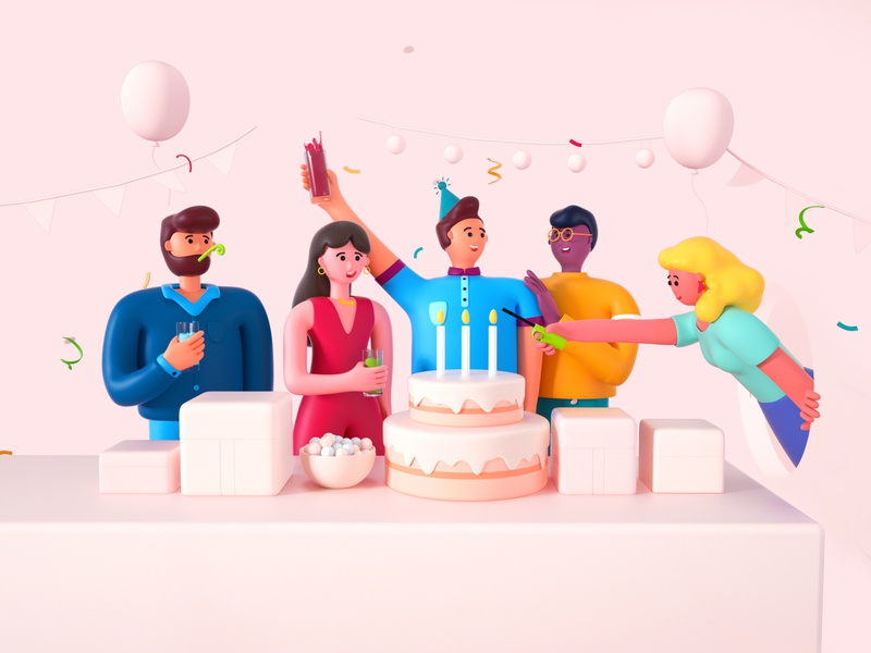 illustration 3d-page 5 lanterns ballons gift drinking woman illustration candle cake birthday party woman branding man character cinema 4d design illustration octane c4d