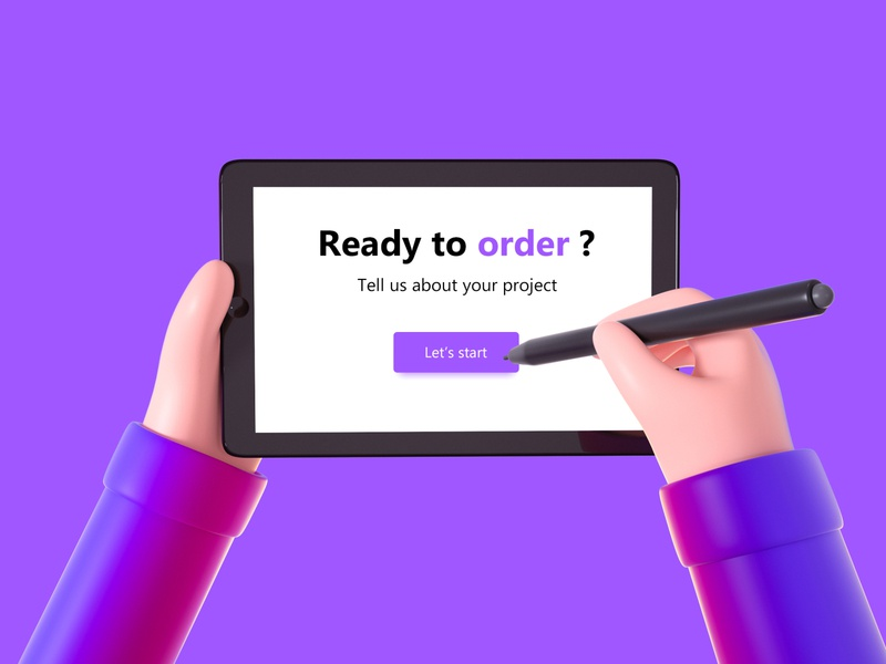 Write down your project shop chief menu orders order pencil project invitation ipad hands cinema 4d octane c4d