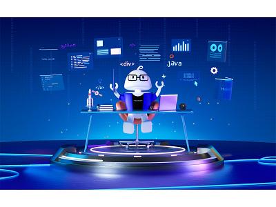 Aton-programmer computer mac code java branding ip cartoon ip 火箭 rocket space programmer animation 3d