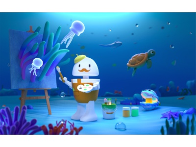 Aton-painter seaweed starfish character cartoon ocean tool ip branding illustration cinema 4d c4d painter plant jellyfish