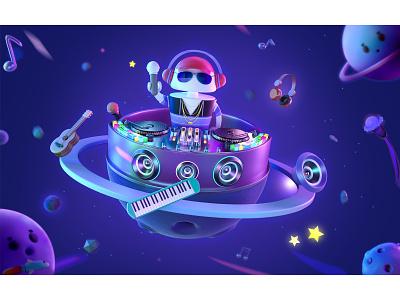 Aton-DJ ip space star rocket headset horn universe guitar branding animation 3d