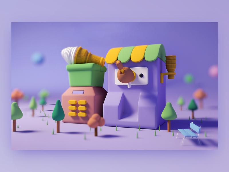 Tiny Ice cream machine machine icon illustration cute house chair tree ice cream vector ui branding octane design c4d