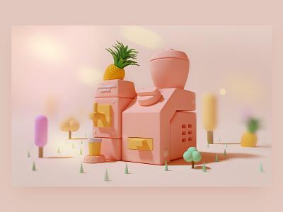 Mini building 3 drink juicer pineapple juice cup house tree icon cute ui octane design c4d