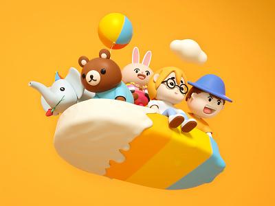 Ice Cream Spacecraft cloud rabbit glasses elepant bear bollywood hat boy girl ui icon cute octane design c4d ice cream