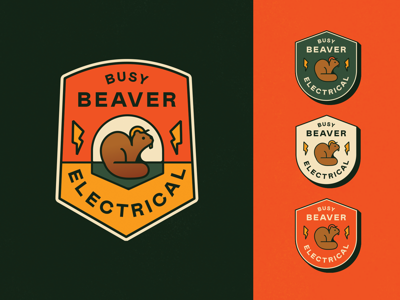 Busy Beaver Badge beavers electrical logo badge beaver