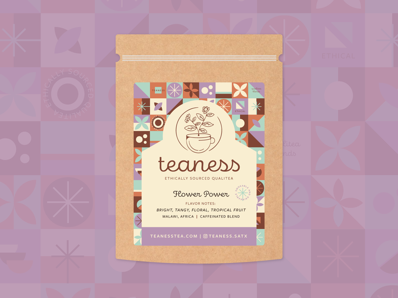 Teaness Label System pattern system cbd labels sustainable packaging tea