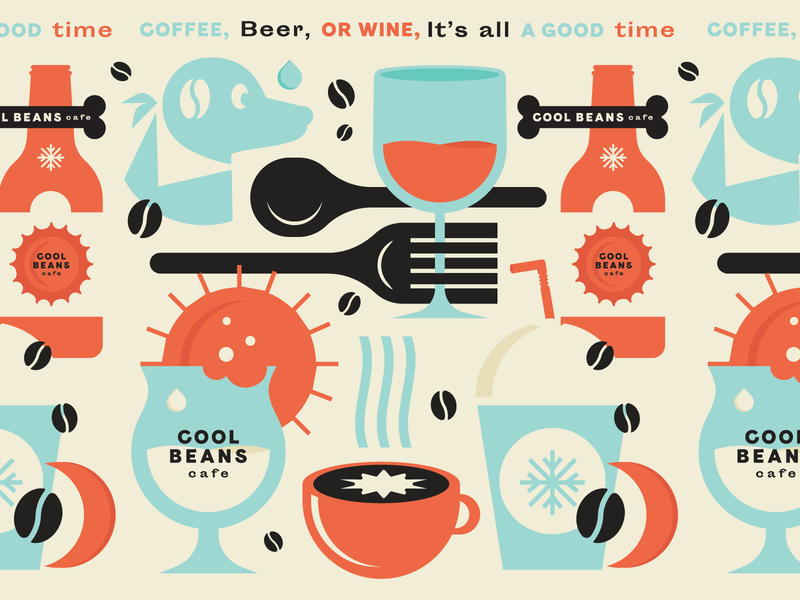 Cool Beans Pattern wine beer dogs coffee cafe pattern icons