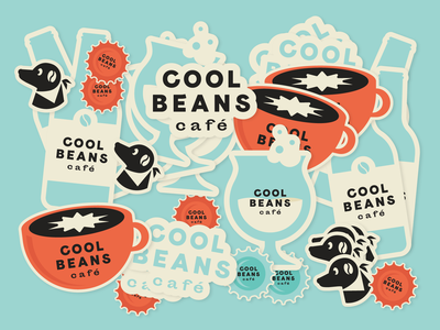 Cool Beans Cafe Stickers wine beer coffee logo cafe dog branding stickers