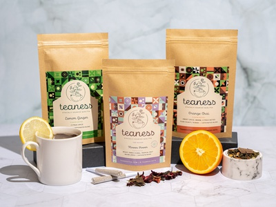 Teaness Packaging sustainable photography packaging design cbd pattern tea packaging
