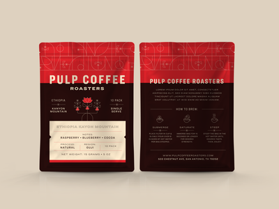 Pulp Coffee Concept 1 pouch icons fruit coffee bag single serve mockup coffee