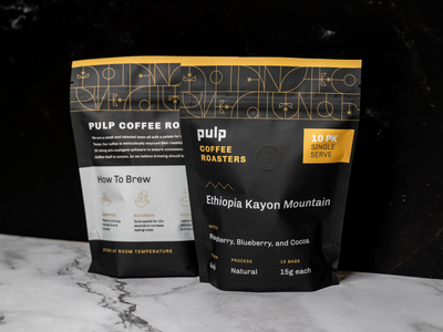 Pulp Coffee Roasters Bag Design single serve cpg pattern coffee roasters stand up pouch coffee bag