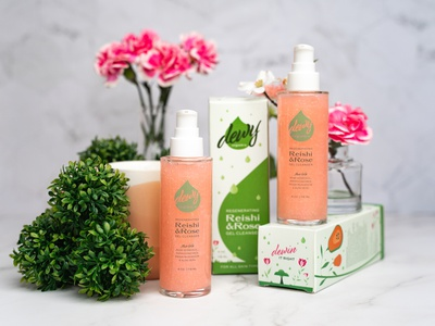 Dewy Organics Gel Cleanser Packaging organic product photography reishi rose branding bottle box illustration face cleanser beauty packaging