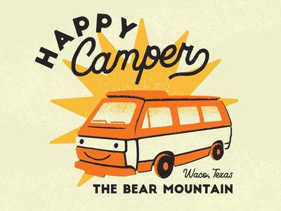 Happy Camper illustration van camping camper kids