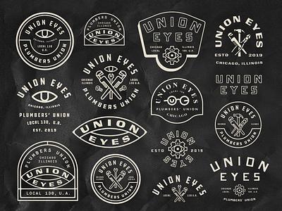 Union Eyes Badges icons eye chicago tools plumber union badges exploration branding