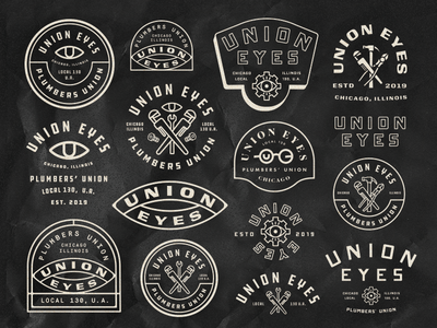 Union Eyes Badges icons eye chicago tools plumber union badges exploration branding