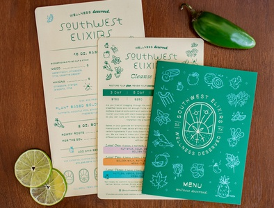 Southwest Elixirs packaging design health juice southwest menu bottles packaging illustration