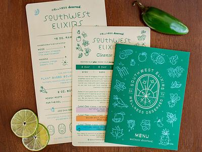 Southwest Elixirs packaging design health juice southwest menu bottles packaging illustration