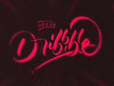 Hello Dribbble calligraphy debut free throw typography lettering brush pen