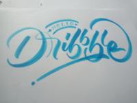 Hello dribble lettering