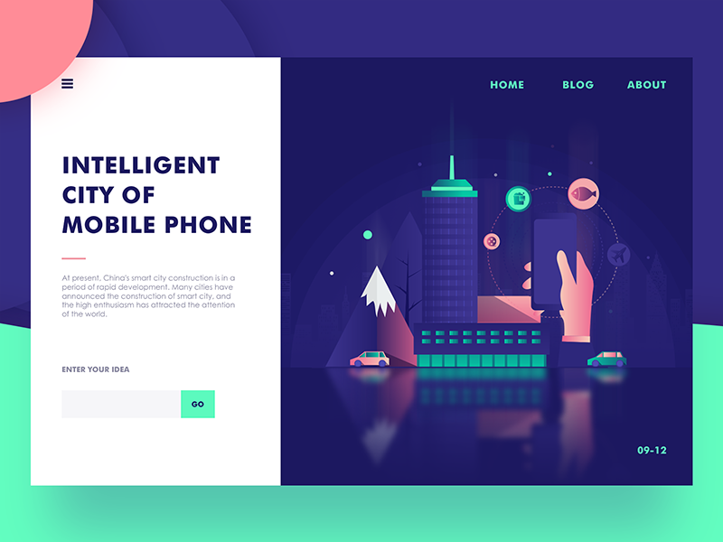 Intelligent  city of mobile phone web ux ui landing interface illustration hero digital colors