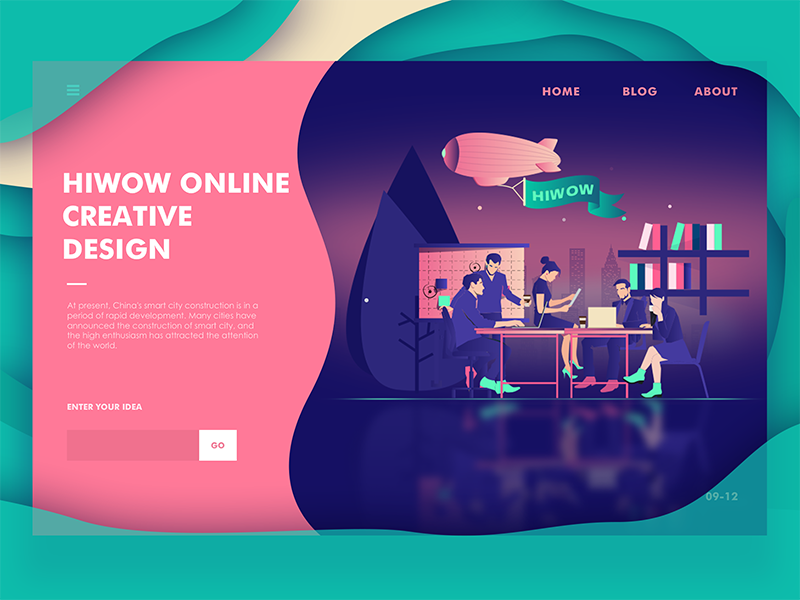 hiwow Online  creative  design web ux ui landing interface illustration hero digital colors