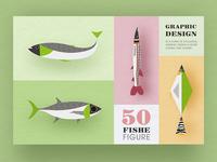 Geometric graphic design - Fish modeling design 1
