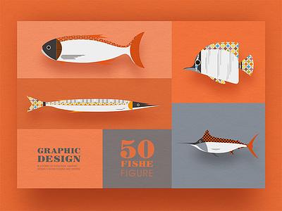 Geometric graphic design - Fish modeling design 3 collocation card icon design graphic fish fresh image illustrations
