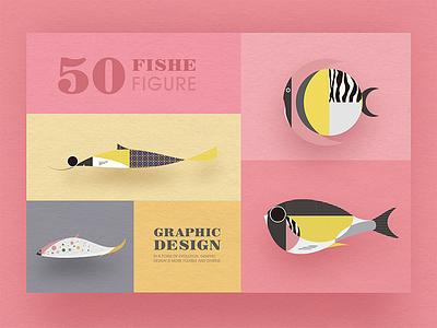 Geometric graphic design - Fish modeling design 4 collocation card icon design graphic fish fresh image illustrations