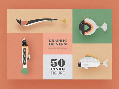Geometric graphic design - Fish modeling design 5 image illustrations icon graphic fresh fish design collocation card